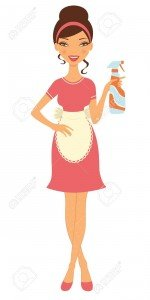 15917950-An-illustration-of-a-beautiful-housewife-holding-cleaning-spray-Stock-Vector