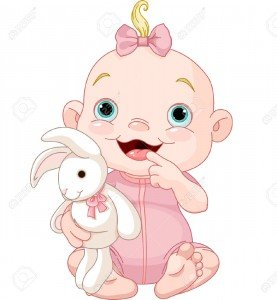 23290759-Adorable-baby-girl-holding-bunny-toy-Stock-Vector-cartoon